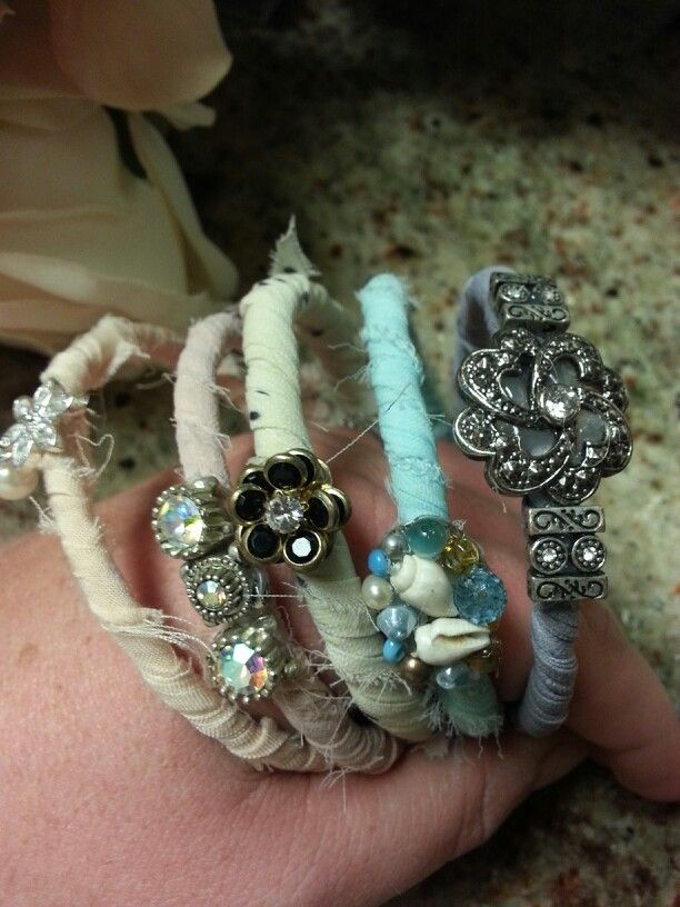 Wrapped braclets with vintage and costume bling #shabby chic #bohemian