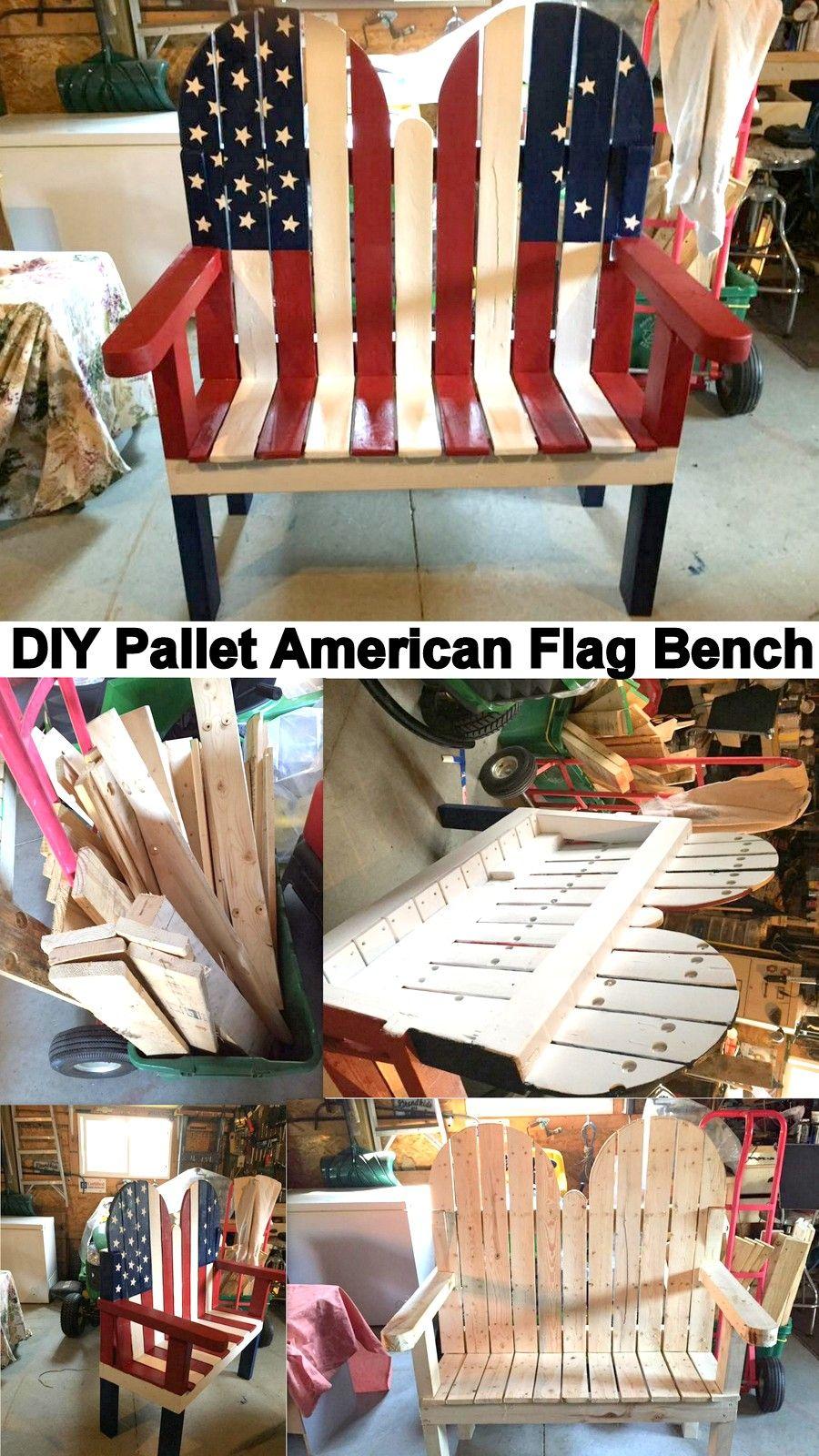 594bcd8b0a2c DIY Pallet American Flag Bench