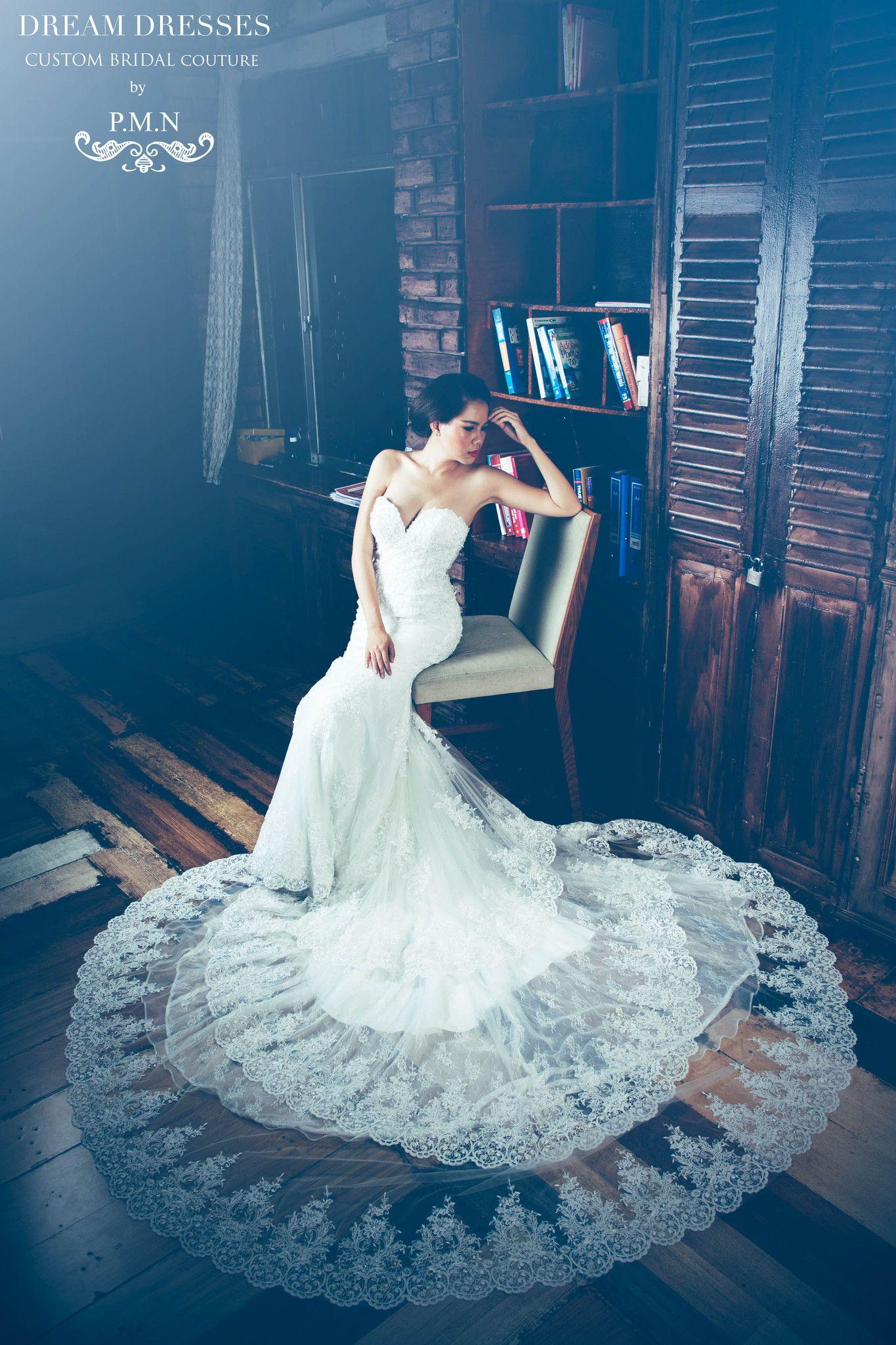 Strapless Wedding Dress with Three Layer Long Train (#Marvella ...