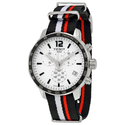 tissot quickster chronograph silver dial black white and red synthetic band menu0027s sports watch products pinterest mens sport