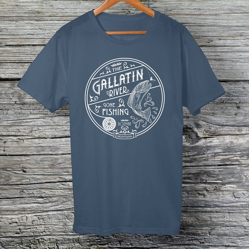 Gallatin River Gone Fishing, white logo t-shirt | Montana