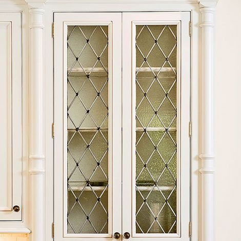 Kitchen Cabinets With Diamond Shaped Leaded Seeded Glass