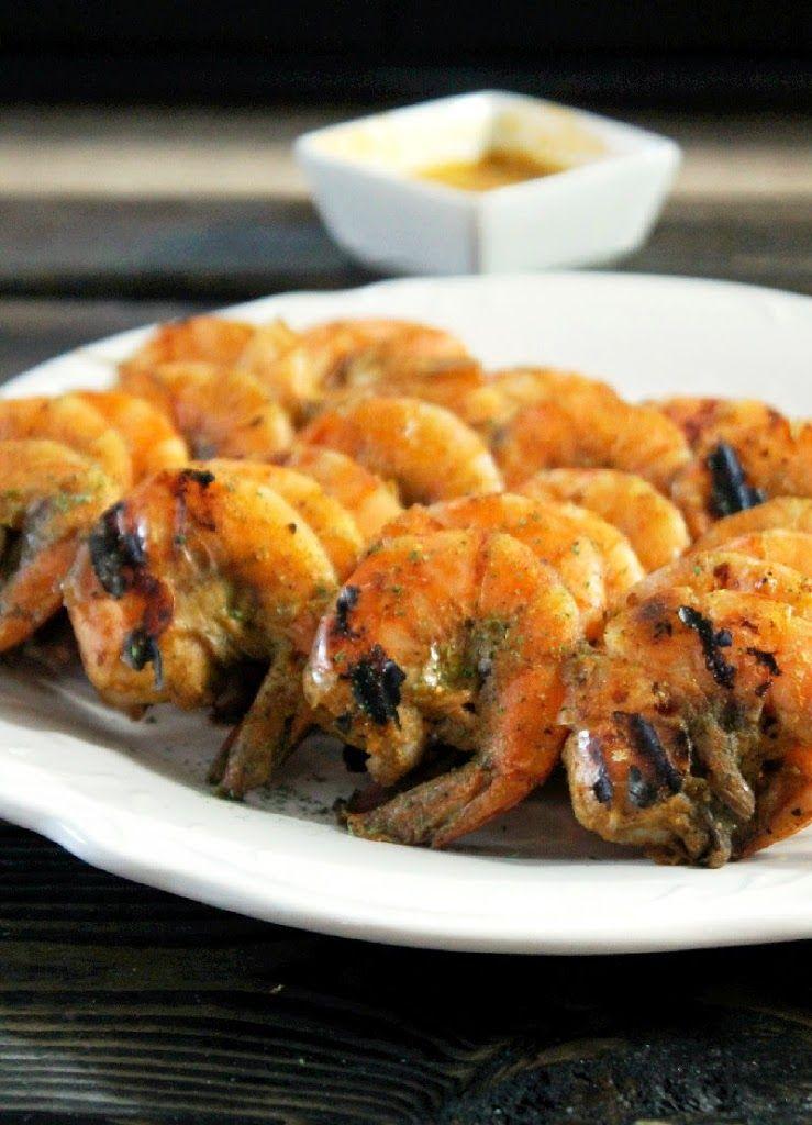 Grilled Jamaican Jerk Shrimp with Mango Chutney #jerkshrimp