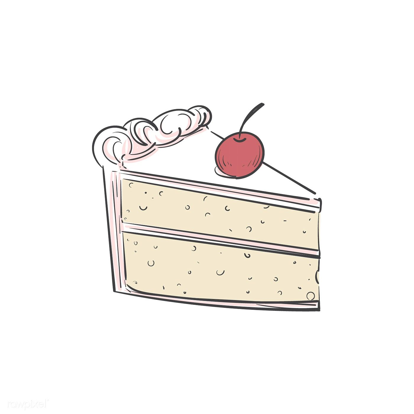Download Premium Vector Of A Piece Of Cake 402803 Cake Illustration Cake Drawing Cake Sketch