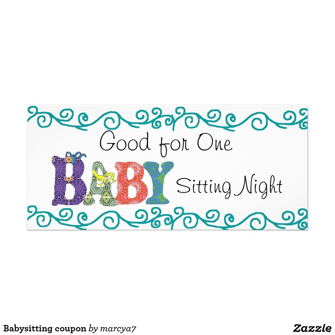 babysitting coupon and cards