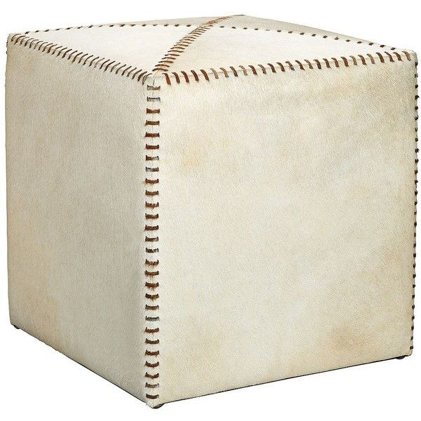 Jamie Young Small White Hide Leather Ottoman W6508 725