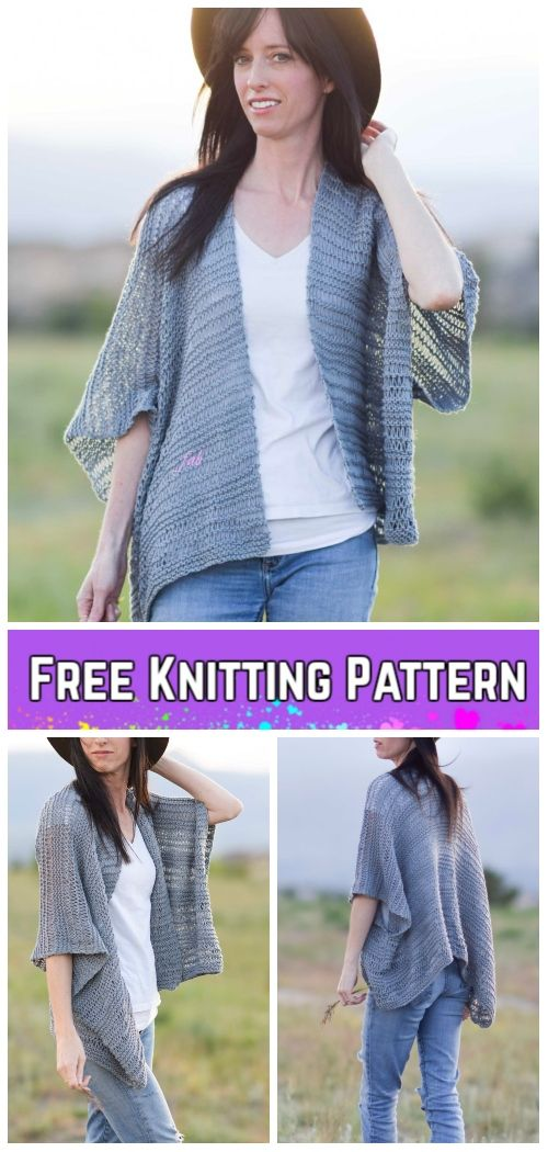 Knit Drop Stitch Kimono Cardigan Free Knitting Pattern Knitting