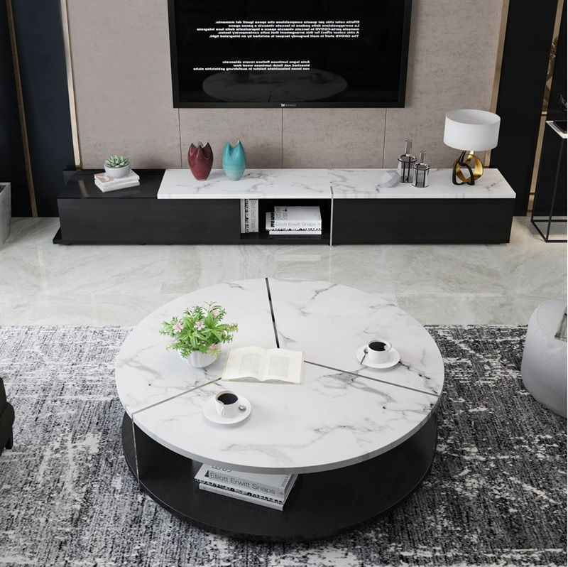 """40cm(15.8"""") Height Coffee Table with Stainless Steel"""