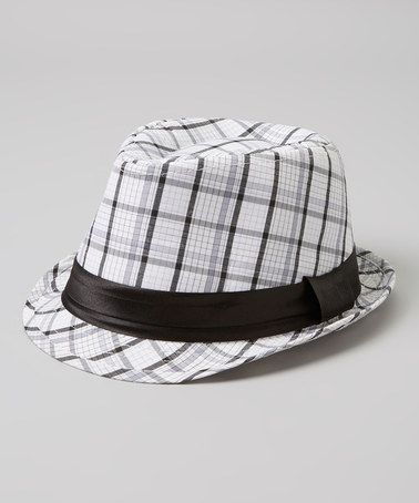 Take a look at this White & Black Plaid Fedora by Milly & Max on #zulily today!
