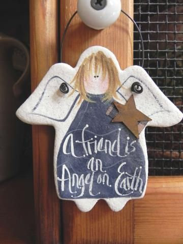 Friend Gift Salt Dough Angel Ornament by cookiedoughcreations for $4.95