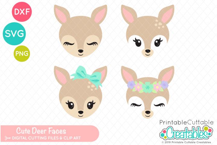 Cute Deer Faces Svg Set 262015 Svgs Design Bundles Felt Pattern Diy Hair Bows Svg
