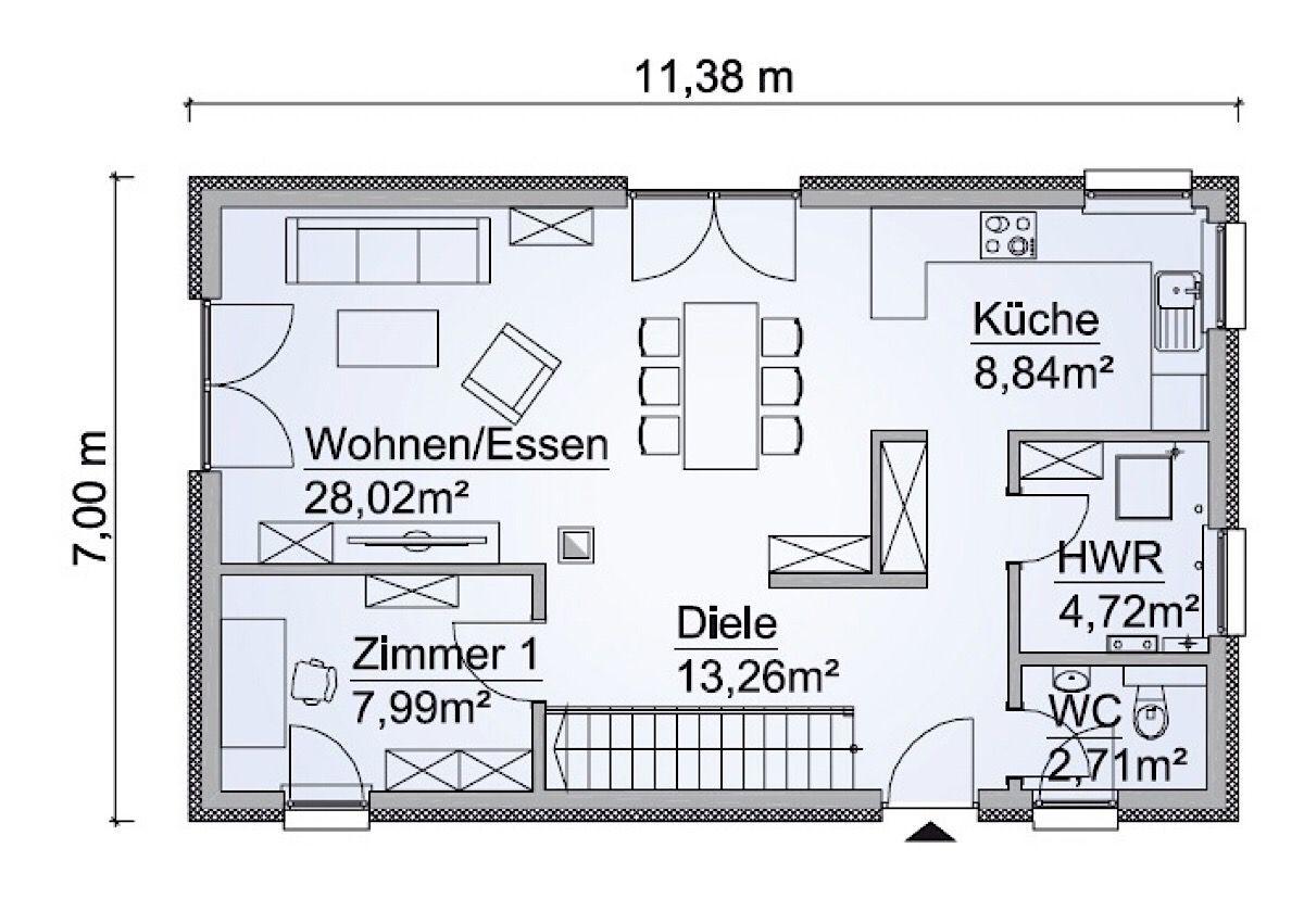 Einfamilienhaus Grundriss Erdgeschoss offen & schmal