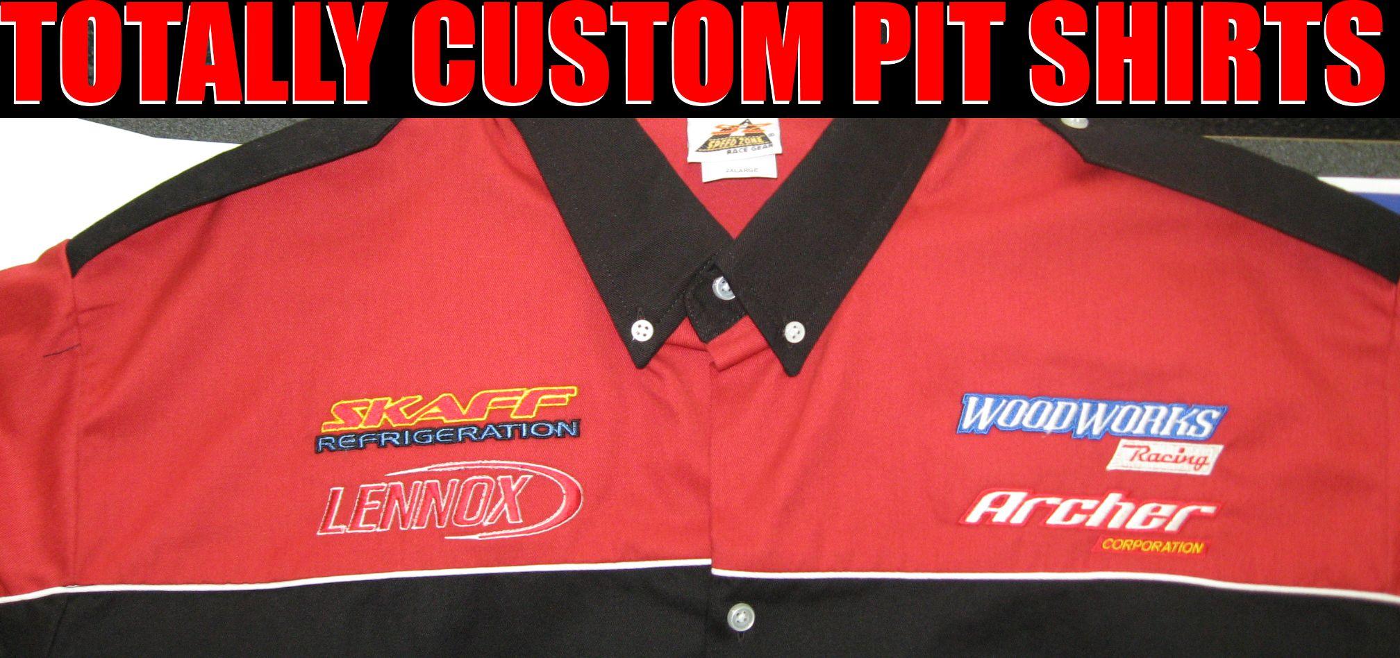 Totally Custom Racing Pit Crew Shirts Mechanic Shirts Caps Pens