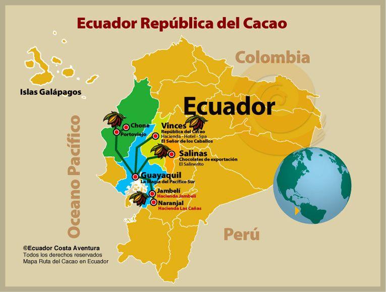 ruta del cacao, ecuador  MON AMOUR Pinterest Ecuador - best of world map with ecuador