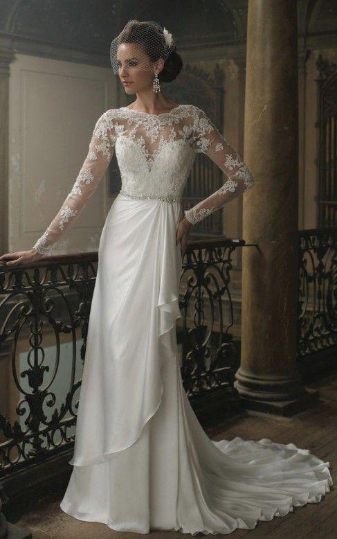 62ed344e8f4e EMA - vestiti eleganti da sposa confezionato in chiffon e pizzo con  strascico corto