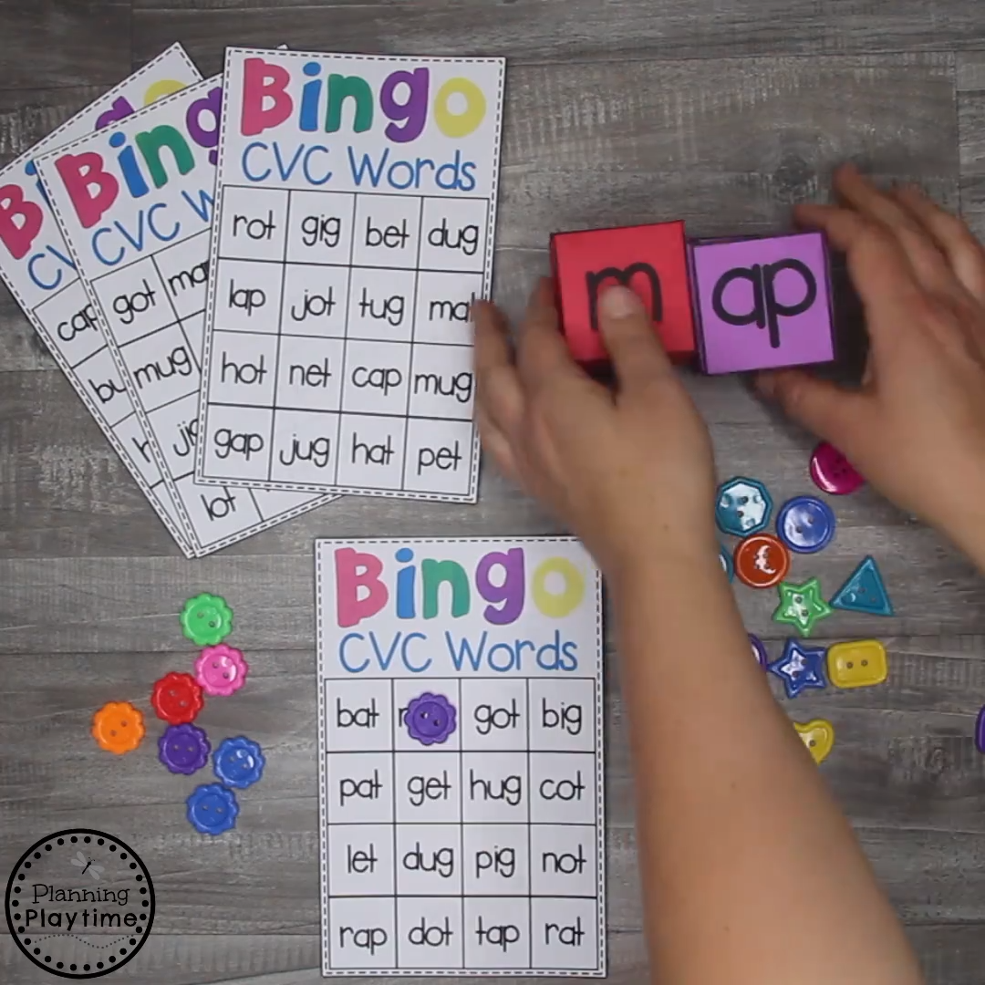 Fun CVC Words Kindergarten Activities for Kids. Build and read words with fun hands on activities. #cvcwords #kindergartenactivities #readingactivities #cvcwordsactivities #kindergartenworksheets #planningplaytime