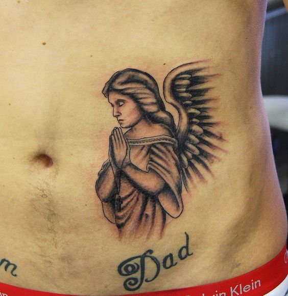 Stomach Tattoos For Men Small Angel Tattoo Angel Tattoo Men Angel Tattoo Designs