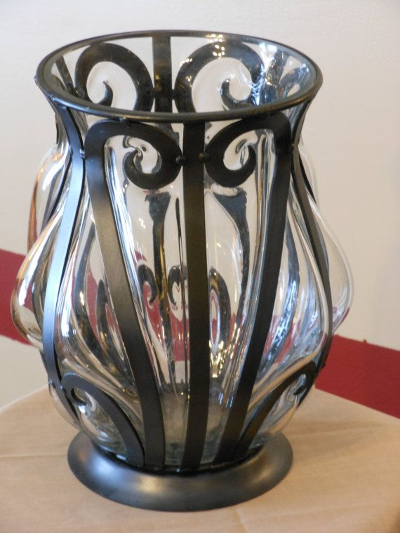 Wrought Iron And Blown Glass Vase For The Home Pinterest