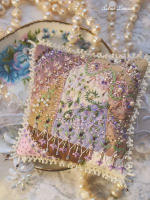 Little cushion with crazy patchwork