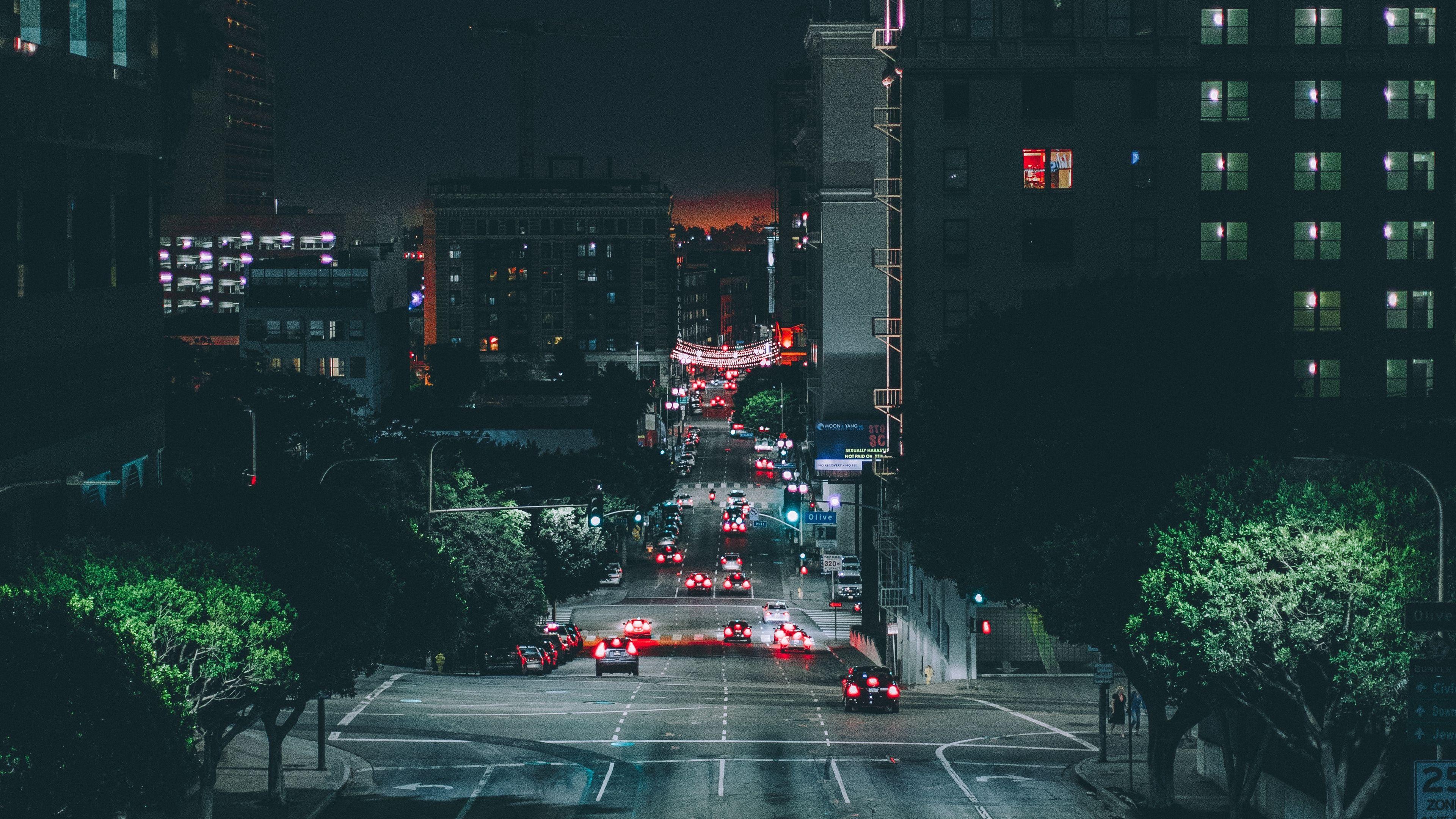 Los Angeles Night City Road Traffic 4k Road Night City Los Angeles In 2020 Night City City Wallpaper City