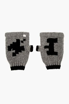 Band Of Outsiders Grey Pixel Print Atari Edition Smokers Gloves