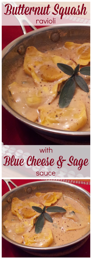 Butternut squash ravioli with blue cheese sage sauce- perfect comforting fall dinner for less than 500 calories!!