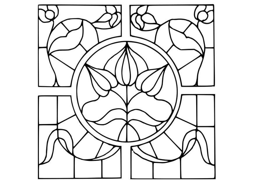 Dibujo para colorear vidrio con dibujo de flores - Img 18641 ...