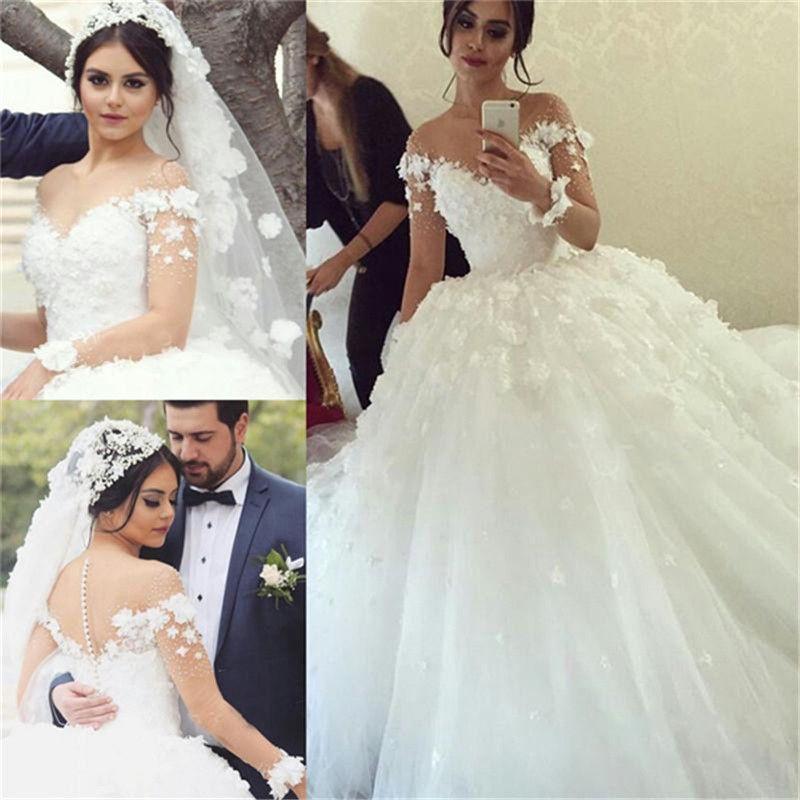 Designer Brautkleider Lang Ärmel Weiß Spitze Prinzessin ...