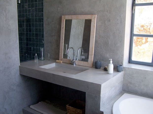 Ba os con microcemento pulido cerca amb google bathrooms pinterest sinks construction - Banos con microcemento alisado ...