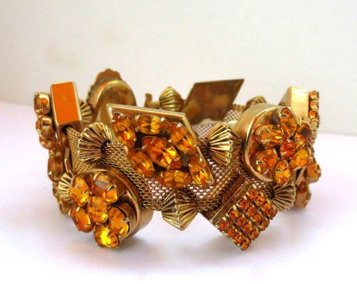 """""""Perfect FOR Fall"""" Super Large Chunky Mesh Slide Bracelet With Amber Stones 