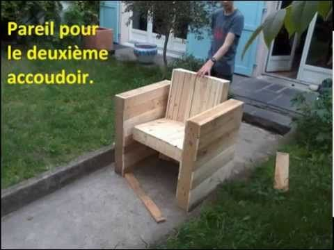 Facile fabriquer votre fauteuil de jardin int rieur en bois de palette youtube cr ation - Creation en palette ...