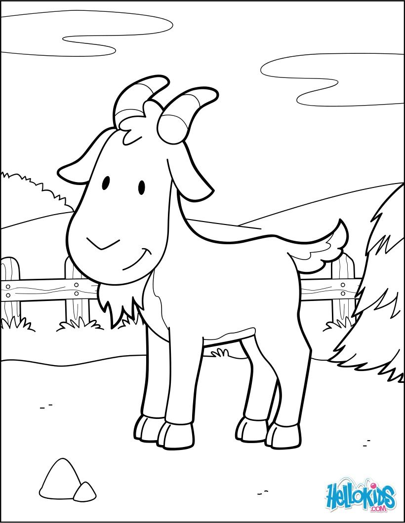 Goat at the barnyard coloring page cute and amazing farm animals