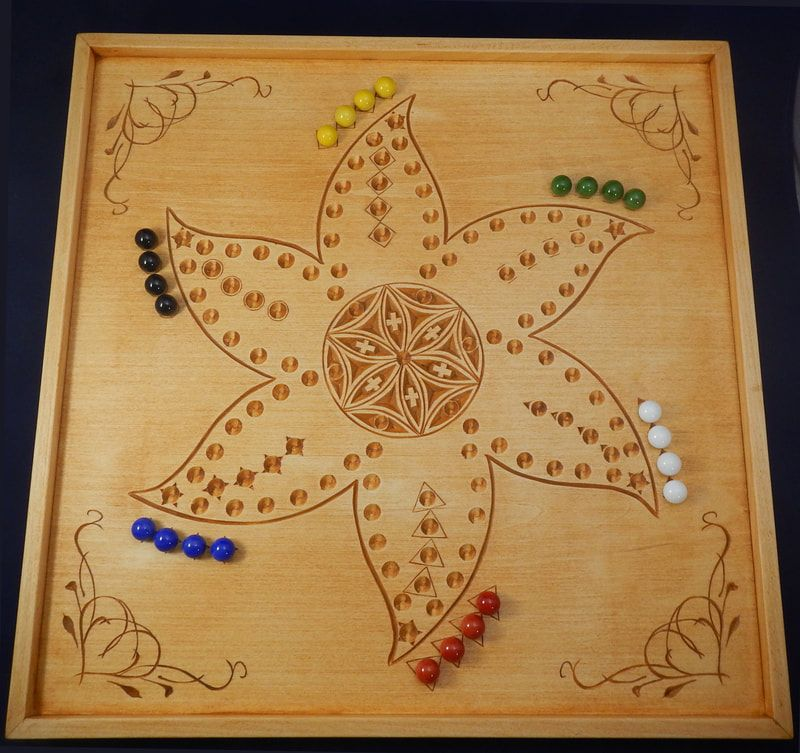 Chip carved marble game board based on aggravation against the