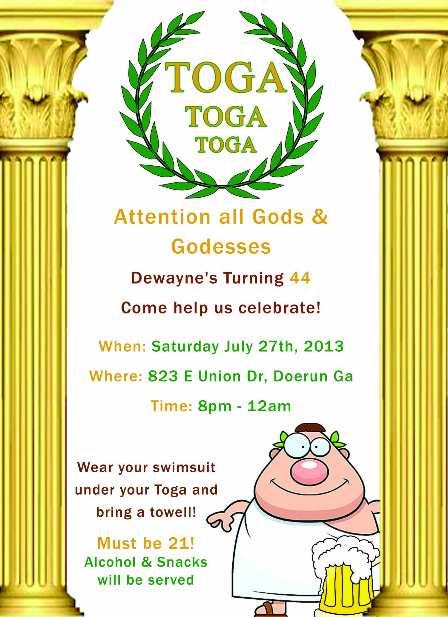 toga party invitations - Google Search  Party invite template