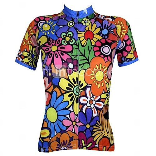 Sometimes all we need is some bright colors! Add more colors at your cycling  track - wear this floral print short sleeve women cycling jersey   shirt at  ... 7a623f7ef