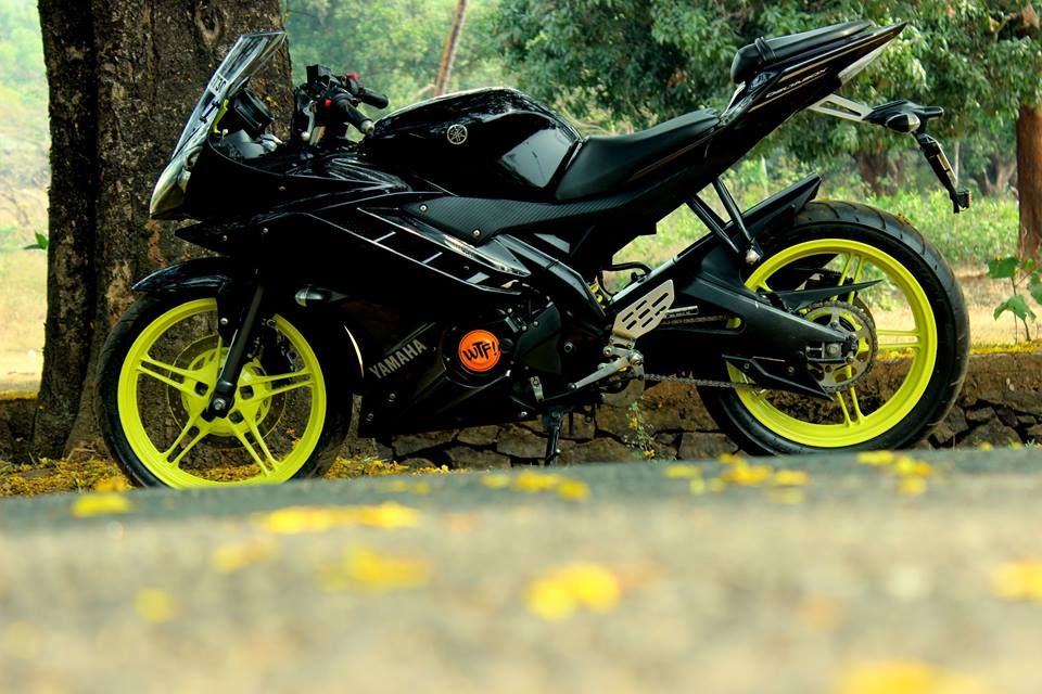 Black Yamaha R15 V2 Modified Fluorescent Green Alloys In 2020