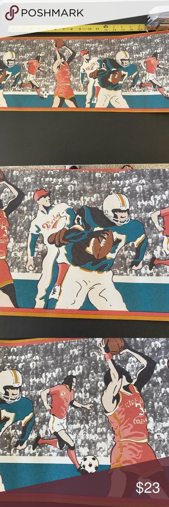 """Wallpaper Border Sports Lover Ball 14'x9"""" Mancave in 2020"""