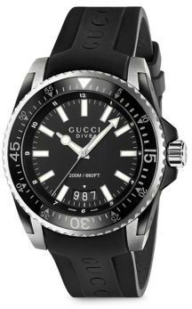 e06c5b63165 Gucci Dive Stainless Steel Rubber Band Watch