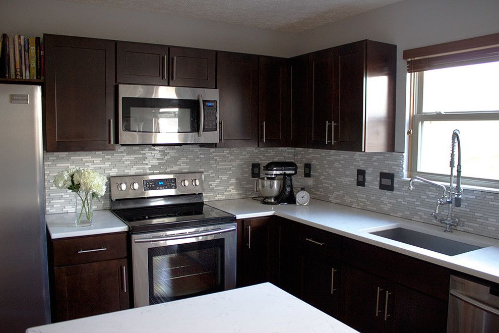 Best Dark Cabinets Light Countertops Kitchen Contemporary With 400 x 300
