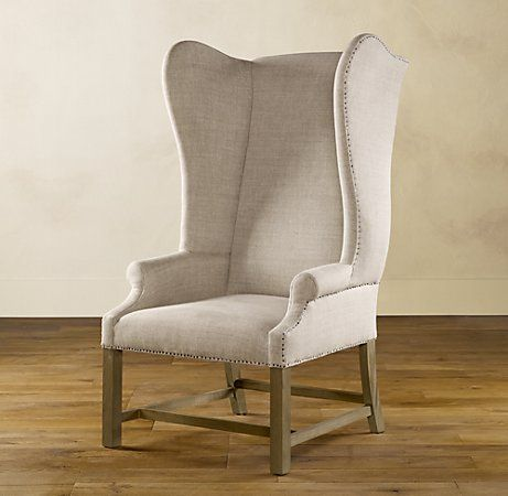 Restoration Hardware Wing Chairs In Linen I Noticed They Used Furniture Tacks Instead Of Studs On The Side Might Do Same With Mine