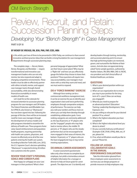 Cmsa Today Issue 3 2014 Page 12 Case Management Succession Planning Positivity