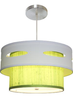 Luther Ii Tabriz Lime Silk Hip Fabric Drum Hanging Lamps Ceiling Lighting Pendant Fixtures This Mid Century Modern New Double Shaded
