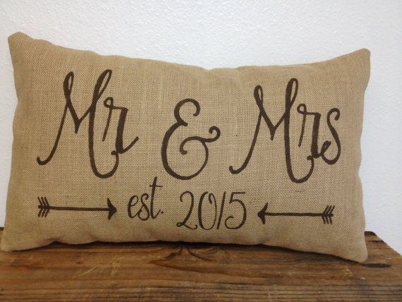 mr u0026 mrs burlap pillow with est date and arrows 12x20 lumbar wedding decor