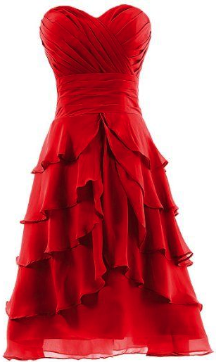 Red Ruffle Skirt Chiffon Prom Dress