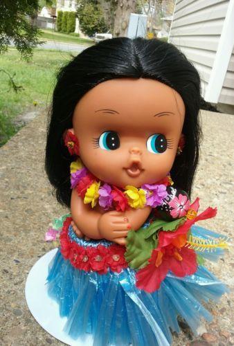 Precious Moments Vinyl Doll Hawaiian Girl 9 Necklace Nice
