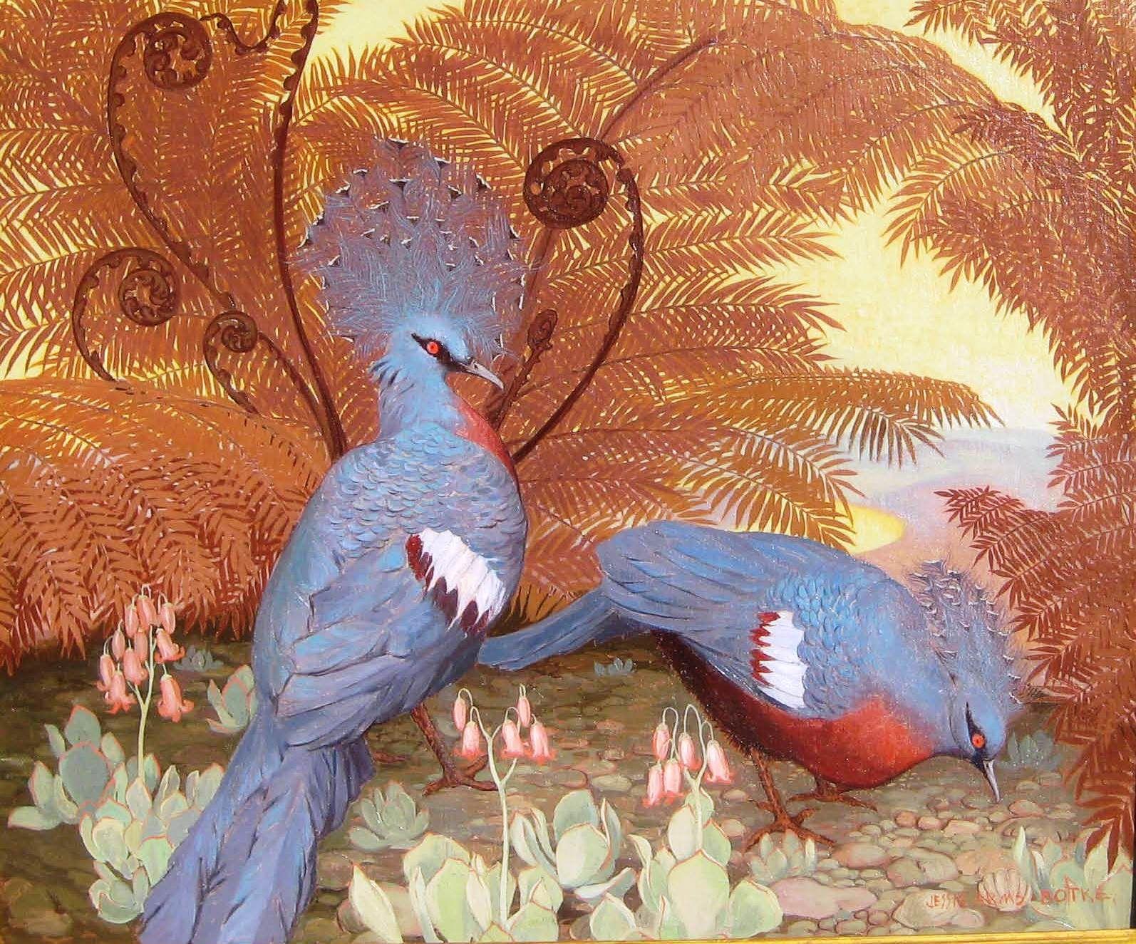 Crowned Pigeons (2) - Jessie Arms Botke