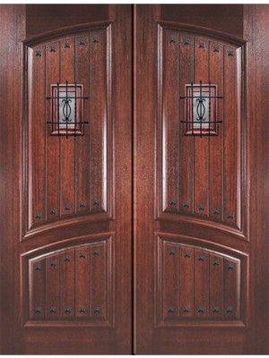 Square Top Arch Panel Mahogany Double Entry Door 8\' 0\