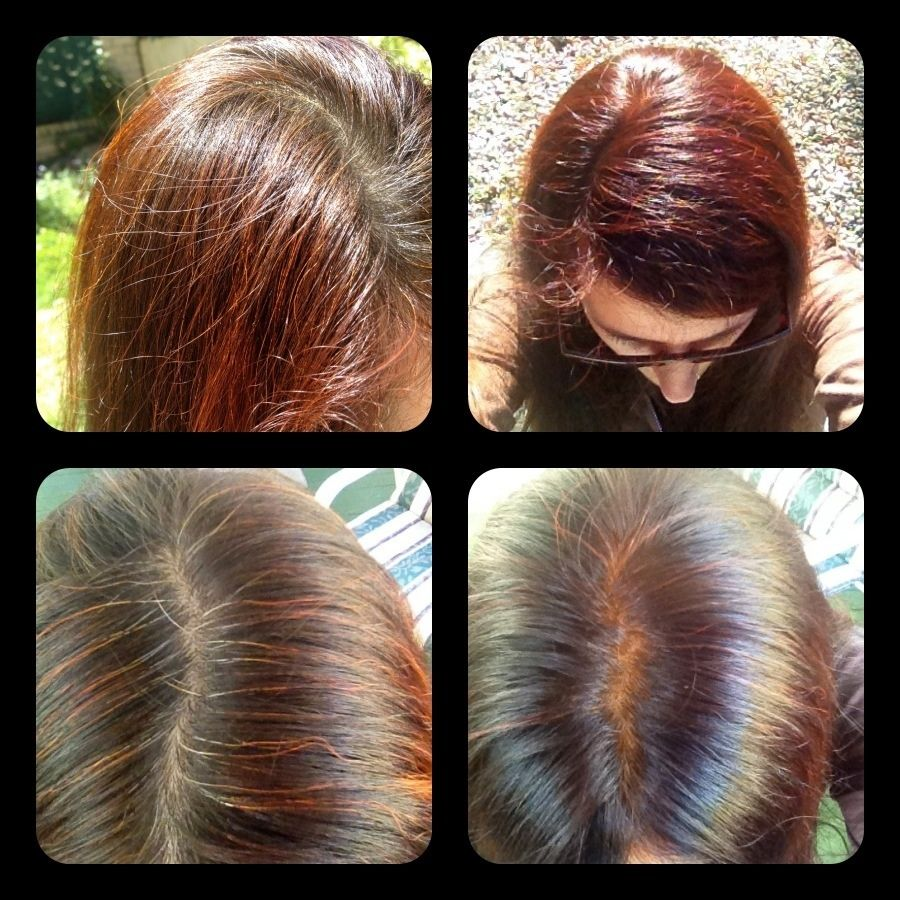 Mehndi For Hair In : Dark red henna before after on brown hair with some