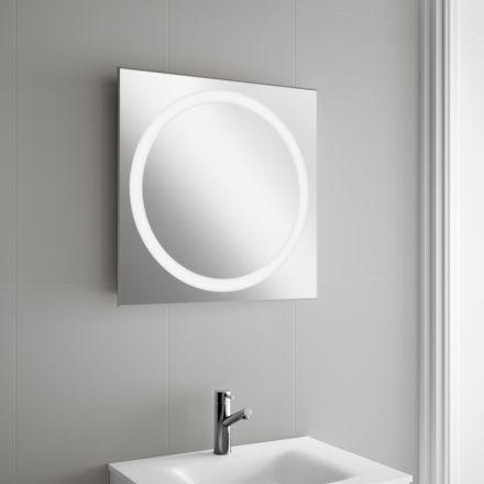 Miroir lumineux carré pour salle de bain Éclairage au LED - prise de courant dans salle de bain
