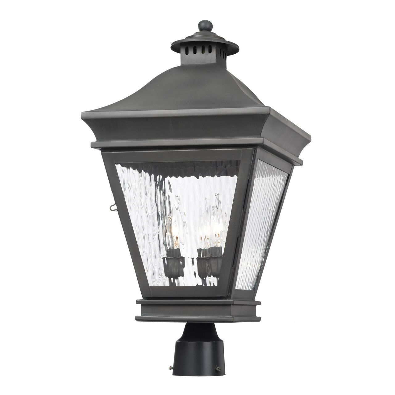 Landings outdoor post lantern in charcoal and water glass c